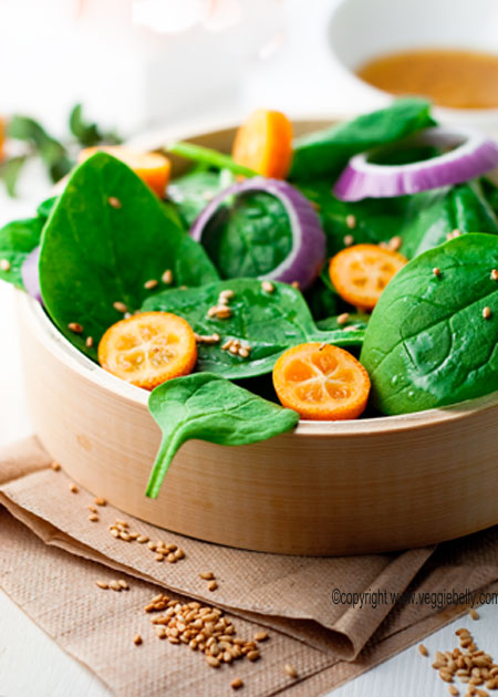 Spinach salad with sesame dressing photo 1