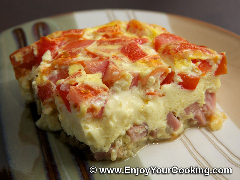 Омлет в духовке с колбасой и сыром рецепт