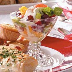 Fruit salad with sauce photo 1