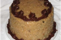 German chocolate upside-down surprise cake